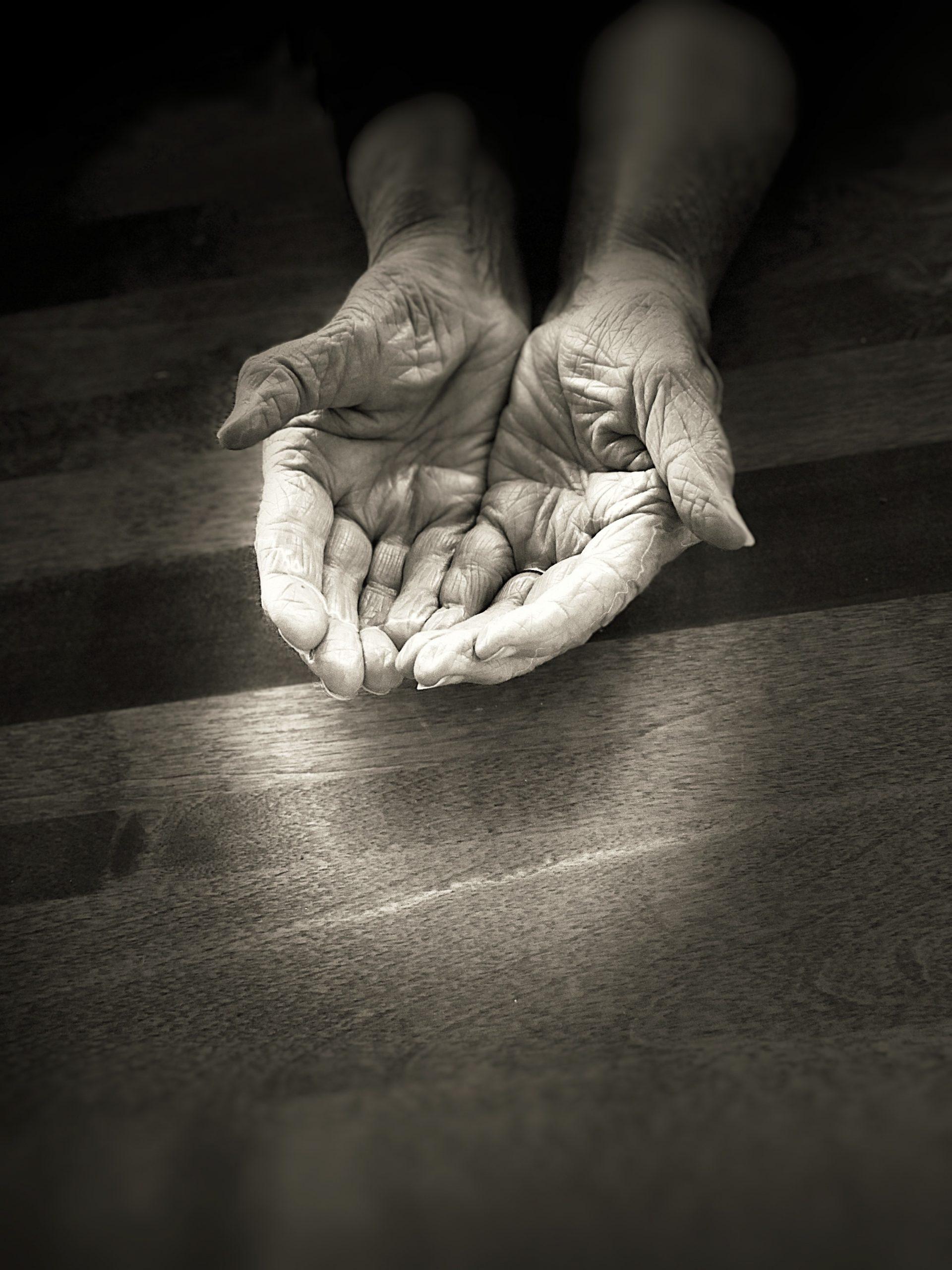 Wearing skin, open hands